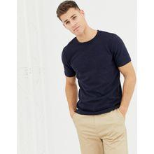 Selected Homme - Lang geschnittenes, lockeres T-Shirt in Marineblau - Navy