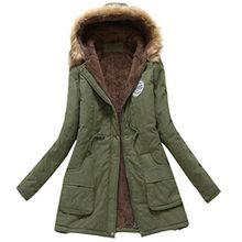 Minetom Damen Winterantel Wattierter Parka Coat mit Pelzkapuze Winterparka Warme Lang Winter Mäntel Outdoorjacke Outwear Grün DE 46