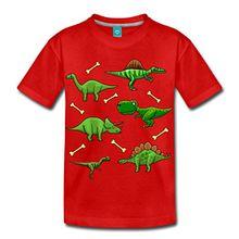 Spreadshirt Dinosaurier Kinder Premium T-Shirt, 122/128 (6 Jahre), Rot