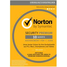 Norton Norton Security Premium Antivirus Software 2018 »Internet Security für bis zu 10 Geräte«