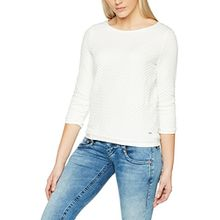 TOM TAILOR Denim Damen Sweatshirt Structure Ruffle Sweater, Elfenbein (Off White 8005), 34 (Herstellergröße: XS)