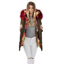 Parka Jacke Blogger Jacke Winter Fell FL7918 Damen Fashion Kunstfell Freshlions, Khaki - Rot/Rot, Gr. L