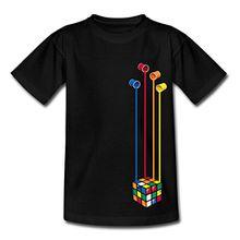 Spreadshirt Rubik's Cube Zauberwürfel Farbeimer Teenager T-Shirt, 152/164 (12-14 Jahre), Schwarz