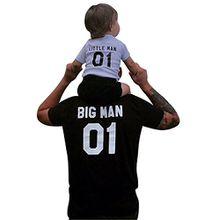 Minetom Papa und Sohn Familie Sommer T-shirt Rundhals Digitaldruck Kurzarm Shirt Tops Passende Vater Kind Geschenk-Set - Vater T-Shirt und Kinder T-Shirt Schwarz DE 52(Daddy)