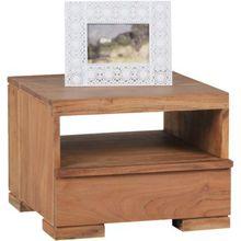 """Akazien Nachttisch """"Mero"""" Massivholz, mit 1 Schublade+Ablage 40x45 cm beige"""