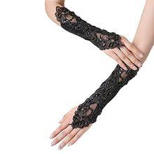 Damen Schwarz Spitze Halbhandschuhe mit Pailletten und Blumenstickerei Elegant Lace Stretch Fancy Gloves für Hochzeitsfest Kostüm (Schwarz lang)