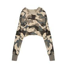 Choies Damen Mädchen Kapuzenpulli Bauchfreie Pullover Langarm Basic Einfarbig Crop Hoodie Sweatshirt Camouflage S