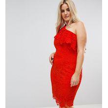 Paper Dolls Plus - Kleid aus Häkelspitze mit One-Shoulder-Träger - Rot