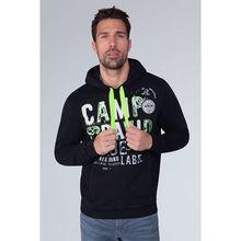 CAMP DAVID Hoodie mit Raw Edges und Used Artwork Sweatshirts schwarz Herren