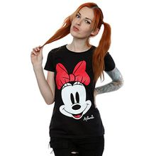 Disney Damen Minnie Mouse Distressed Face T-Shirt X-Large Schwarz