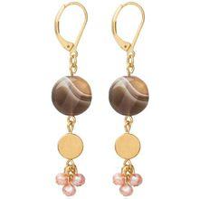 David Aubrey - Ohrringe Medaillon Botswana Achat und Pink Pearl
