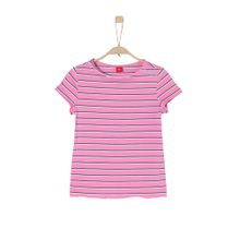 S.Oliver Junior Gestreiftes Crew Neck-Shirt pink / schwarz / weiß