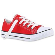 Kinder Sneakers Sport Denim Stoff Schnürer Sneaker Low Turn Schuhe 139988 Rot 32 Flandell