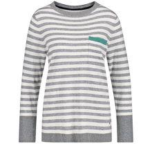 Gerry Weber Pullover Langarm Rundhals Pullover mit Streifen Sweatshirts grau-kombi Damen