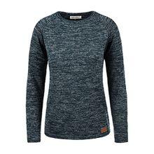 Blend She Daniela Damen Strickpullover Feinstrick Pullover Mit Rundhals Und Melierung, Größe:L, Farbe:Navy (70230)