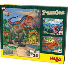 Puzzles - 3 x 24 Teile - Dinosaurier