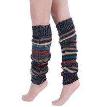 A&Z; Super Warme Damen Frauen Beinstulpen Streifen Crochet Stiefel Manschetten Socken Leg Knit Stulpen Warmers Socks Cuffs Knie (Schwarz)