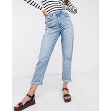 New Look – Hellblaue Mom-Jeans mit Rissen