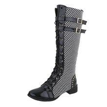 Ital-Design Schnürstiefel Damen-Schuhe Schnürstiefel Blockabsatz Schnürer Reißverschluss Stiefel Schwarz Multi, Gr 39, Ju1191-