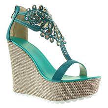 Angkorly Damen Schuhe Sandalen - T-Spange - Plateauschuhe - Schmuck - Bestickt Keilabsatz High Heel 13 cm - Türkis 168-1 T 40