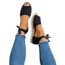 Minetom Damen Sandalen Süßigkeitsfarbe Flache Badesandale Schuhe Flip-Flops Sommer Bequeme Frauen Übergröße Offene Elegante Mode Casual Schwarz EU 36