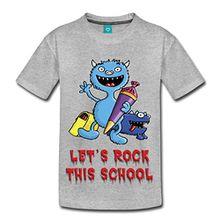 Spreadshirt Einschulung Rock This School Kinder Premium T-Shirt, 122/128 (6 Jahre), Grau meliert
