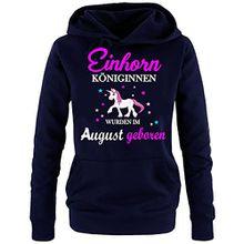 Einhorn Königinnen wurden im August geboren ! Damen HOODIE Sweatshirt mit Kapuze Navy, Gr.S