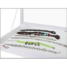 Yudu® Schmuckkasten Schaukasten für lange Ketten Armbänder Halsketten Glasdeckel weiss