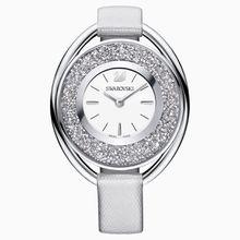 Crystalline Oval Uhr, Gewebe-Armband, grau, silberfarben