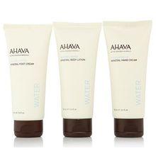 AHAVA Körperpflege-Set Handcreme, Bodylotion Fußcreme 3x 100ml