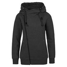 Sublevel Sweatjacke mit Zipper & Kapuze | Cooler Damen Hoodie - schräger Reißverschluss, Uni-farben black L