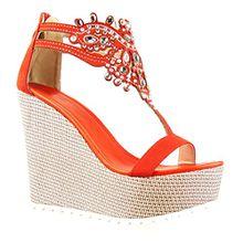 Angkorly Damen Schuhe Sandalen - T-Spange - Plateauschuhe - Schmuck - Bestickt Keilabsatz High Heel 13 cm - Rot 168-1 T 40