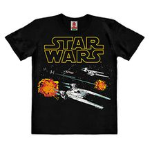 Star Wars - Rogue One - U-Wing - X-Wing - TIE Fighter - Starfighter Kinder Organic T-Shirt - schwarz - Bio Baumwolle - organic cotton - Lizenziertes Originaldesign - LOGOSHIRT , Größe 164, 13-14 Jahre