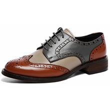Brogue Bequem Business&Schn;ürhalbschuhe Leder Klassiker Perforierte Wingtip OxfordsBrownblau40.5