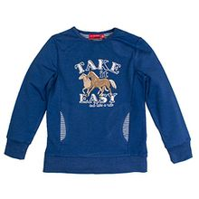 SALT AND PEPPER Mädchen Sweatshirt Sweat Horses Take It Easy, Blau (Indigo Blue Melange 460), 104