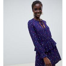 Reclaimed Vintage - Inspired - Mit Punkten bedrucktes Kleid mit gerüschtem Ausschnitt - Mehrfarbig