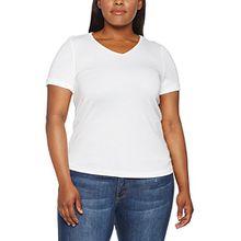 Ulla Popken Große Größen Damen Regular Fit T-Shirt T - Shirt, V - Ausschnitt, Kurz 70431620, Einfarbig, Gr. 50 (Herstellergröße: 50+), Weiß (Weiss 20)