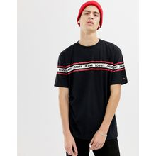 Tommy Jeans - Lässiges, schwarzes T-Shirt mit Kontraststreifen auf der Brust und an den Ärmeln - Schwarz