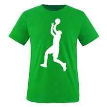 Comedy Shirts - Basketballspieler - Kinder T-Shirt - Grün / Weiss Gr. 152-164