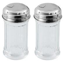Viva Haushaltswaren - 2 x Mini Zuckerstreuer / Zuckerspender im American Style mit Deckel, Zuckerdose aus Glas als Zuckerdosierer verwendbar (Ø 4,5 cm)