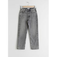 Straight Mid Rise Jeans - Grey