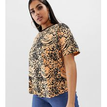 ASOS DESIGN Curve - T-Shirt mit leuchtendem Animal-Print - Orange