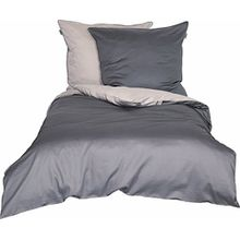Schöner Wohnen Bettwäsche-Set, 100 Prozent CO, Sand-Anthrazit, 220 x 155 cm