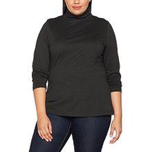 Ulla Popken Große Größen Damen Rollkragenpullover Shirtrolli Basic Grau (Anthrazit 12), 56 (Herstellergröße: 54+)