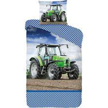 Wende- Kinderbettwäsche Traktor, 135 x 200 cm blau