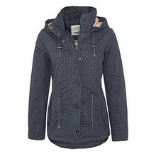 Fresh Made Damen leichte Übergangsjacke aus Baumwolle mit Kapuze Frühlingsjacke dark-blue XL