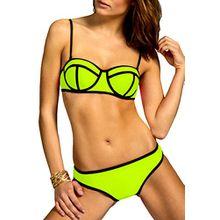 CASPAR BIK003 Damen Bandage Triangel Bikini Set Unicolor, Farbe:neon gelb;Größe:40 L UK12 US10