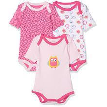 Schnizler Baby-Mädchen Body Kurzarm, 3er Pack Eule, Oeko-Tex Standard 100, Rosa (Original 900), 50 (Herstellergröße: 50/56)
