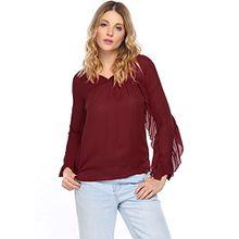 Zeagoo Damen Chiffon Blusen Shirts Tops Sommer Herbst Casual Langarm Shirt