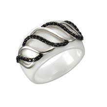 Jacques Lemans Ring 925/- Sterling Silber mit Keramik und Zirkonia weiß Damen